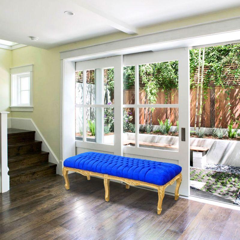 banquette plate louis xv tissu velours bleu et bois dor. Black Bedroom Furniture Sets. Home Design Ideas