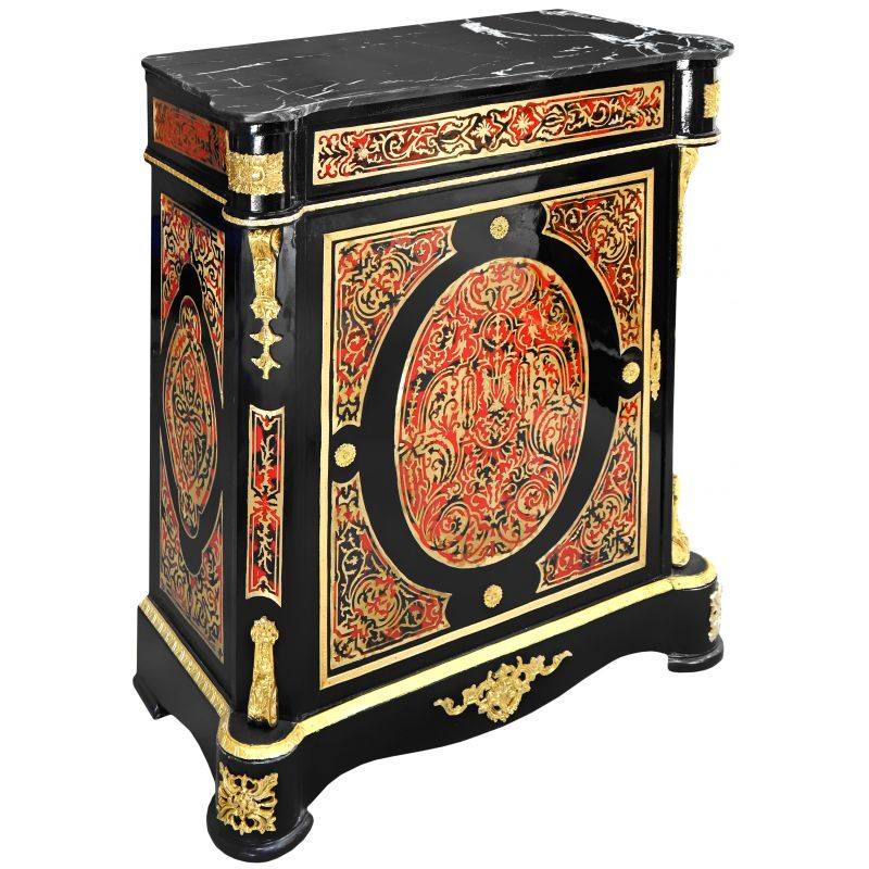 buffet marqueterie boulle de style napol on iii marbre noir. Black Bedroom Furniture Sets. Home Design Ideas