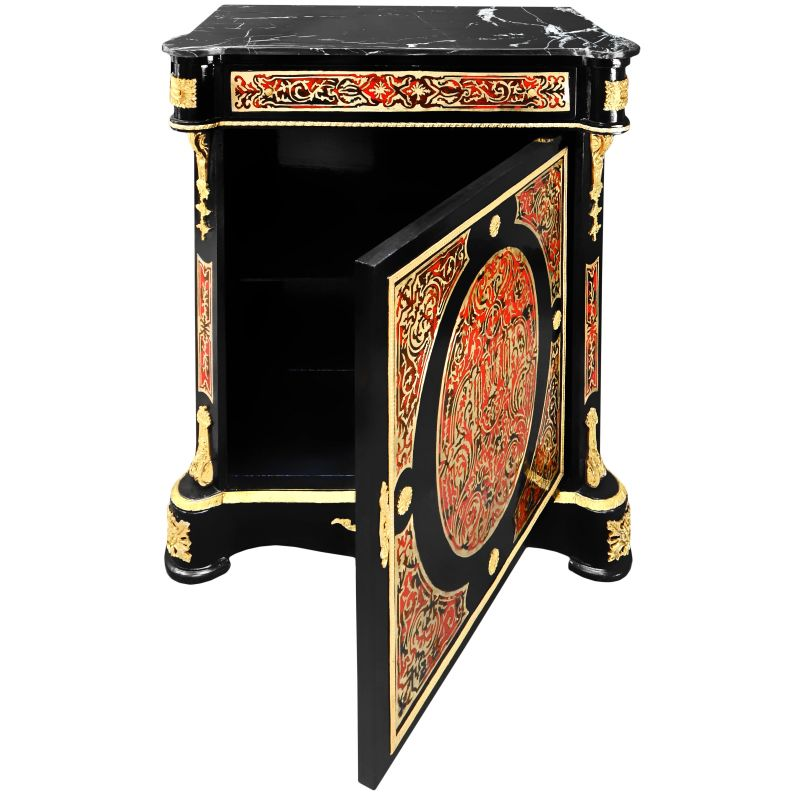 with marquetry Boulle style Napoleon III black marble