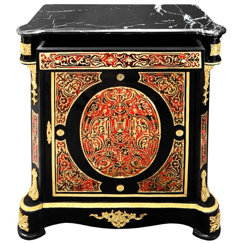 Buffet marqueterie boulle de style napol on iii marbre noir for Meuble style napoleon 3