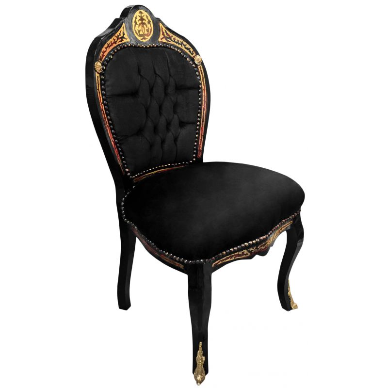 chaise marqueterie boulle style napol on iii velours noir et bois noir. Black Bedroom Furniture Sets. Home Design Ideas