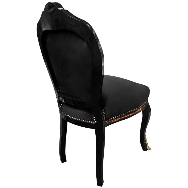 Chaise marqueterie boulle style napol on iii velours noir for Chaise bois noir