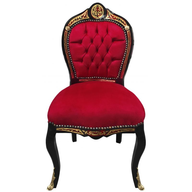 chaise marqueterie boulle style napol on iii bordeaux et bois noir. Black Bedroom Furniture Sets. Home Design Ideas