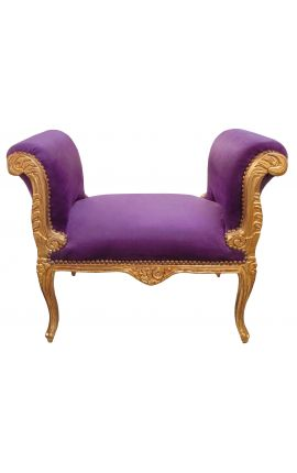 Baroque bench Louis XV style purple fabric and antique gold wood