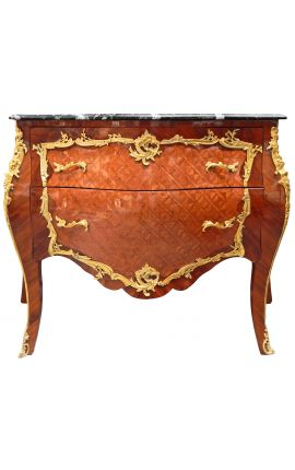 Inlaid dresser Louis XV style, gilded bronzes and black marble