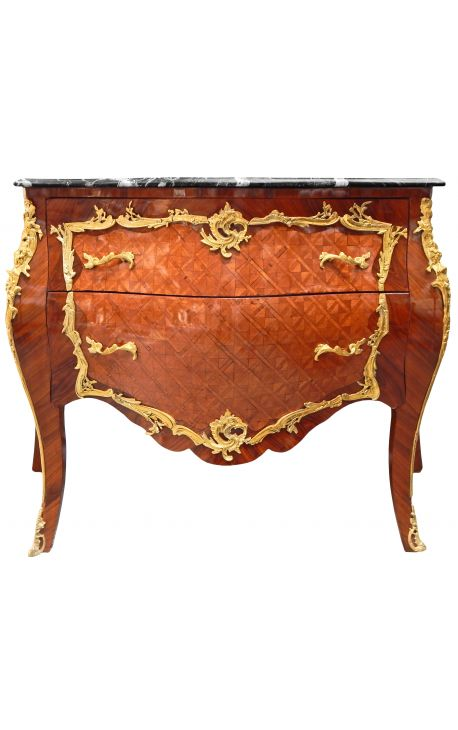 Inlaid Louis XV chest of drawers style, gilded bronzes and black marble