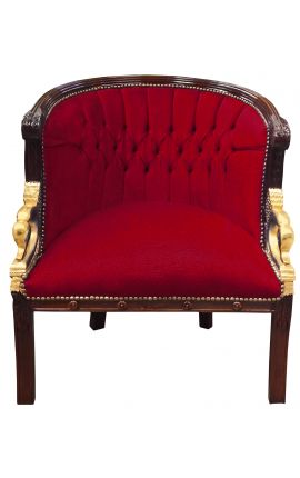 Large bergère Empire style velvet burgundy and mahogany wood