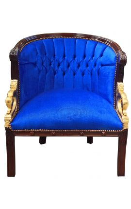 Large bergère Empire style velvet blue and mahogany wood