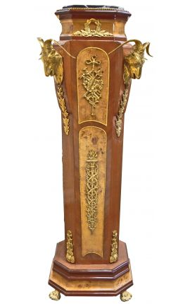 Napoleon III style column with rams and gold bronzes