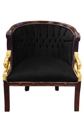 Large bergère Empire style velvet black and mahogany wood
