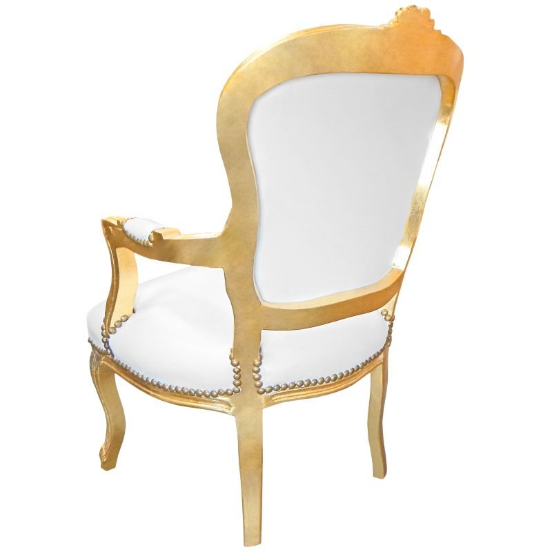 fauteuil baroque louis xv simili cuir blanc avec strass et bois dor. Black Bedroom Furniture Sets. Home Design Ideas