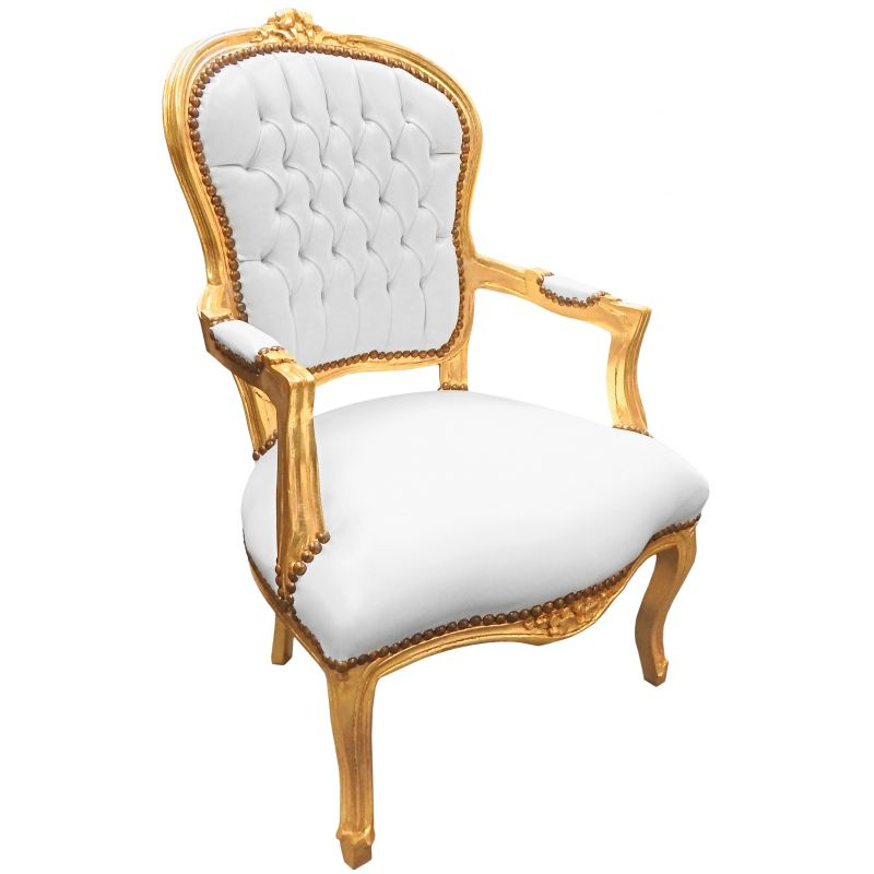 Baroque armchair Louis XV style white leatherette and gold ...