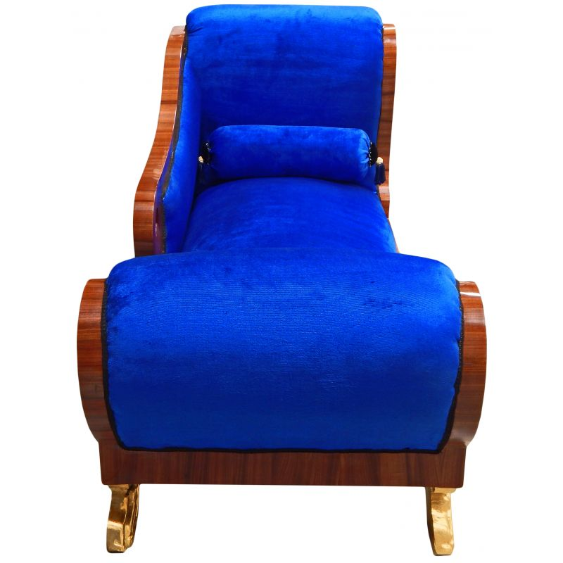 Large chaise longue blue velvet empire style and mahogany for Blue velvet chaise