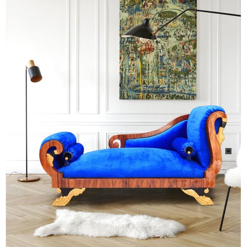 grande m ridienne de style empire velours bleu et acajou. Black Bedroom Furniture Sets. Home Design Ideas