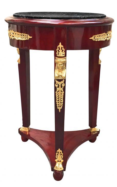 Table guéridon de style Empire bronzes dorés et marbre noir