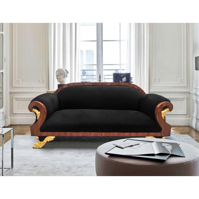 canap de style empire tissu velours noir et acajou. Black Bedroom Furniture Sets. Home Design Ideas