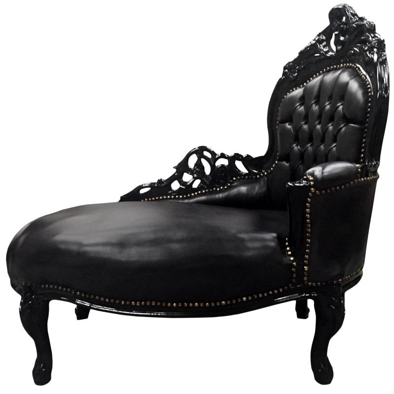 Baroque chaise longue black leatherette with black wood - Chaise baroque argentee ...