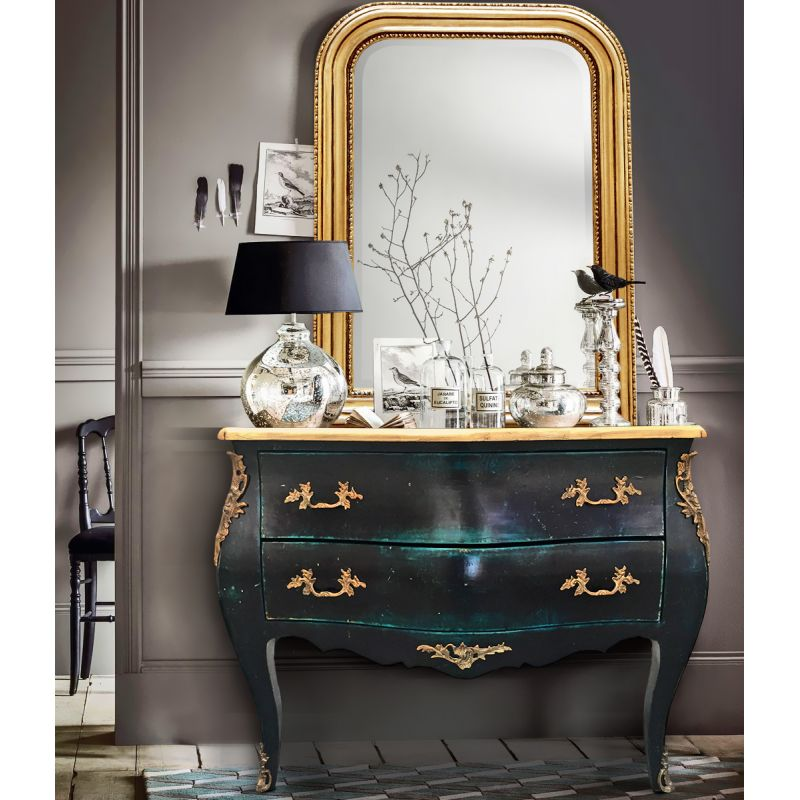 commode baroque de style louis xv vert antique. Black Bedroom Furniture Sets. Home Design Ideas