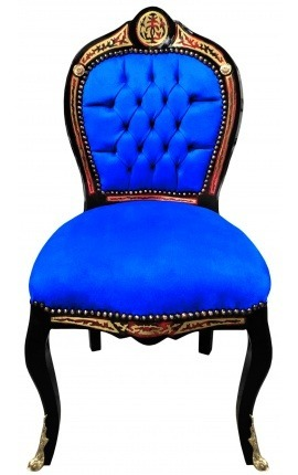 Napoleon III style dinner chair Boulle marquetry blue velvet and black wood