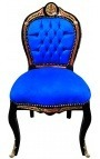 Chaise marqueterie Boulle de style Napoléon III bleu et bois noir