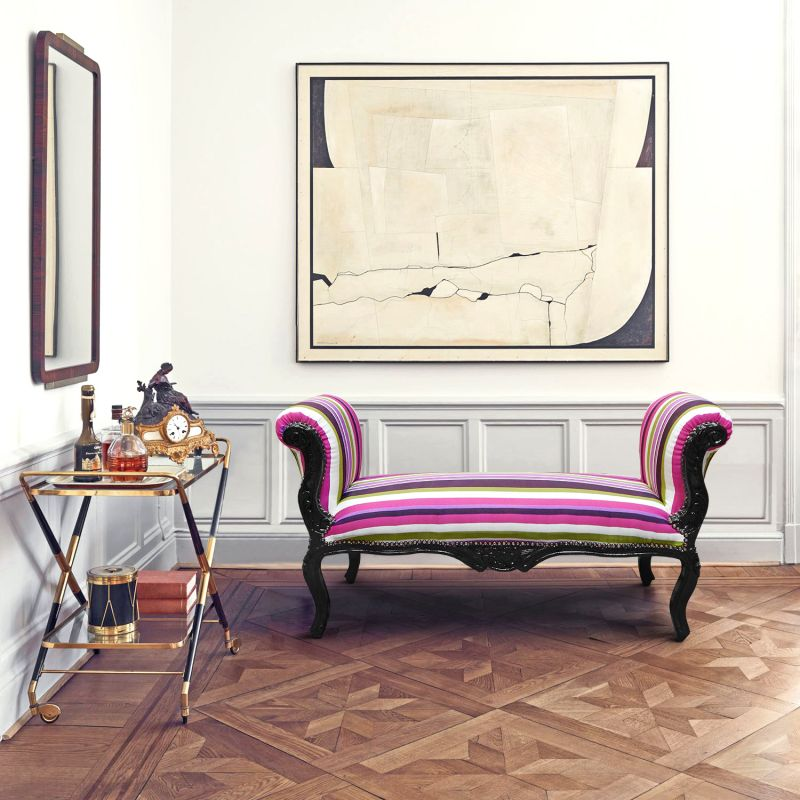 longue banquette baroque de style louis xv ray multicolore bois noir. Black Bedroom Furniture Sets. Home Design Ideas
