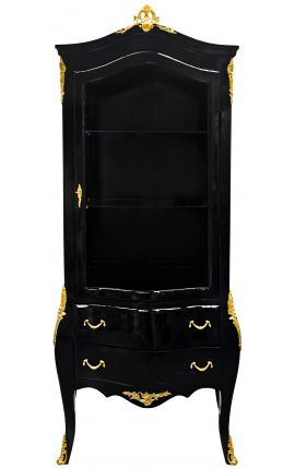 Baroque display cabinet lacquered black shiny with gold bronzes