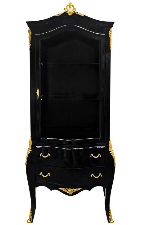 Барокко витрина лакированный черный блестящий с золотыми бронзовыми украшениями.