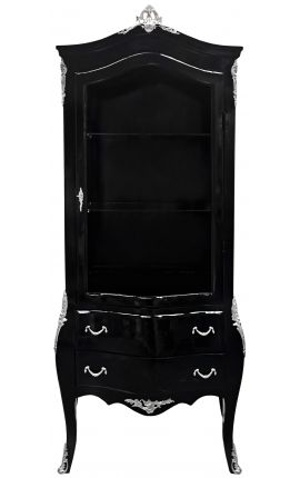 Baroque display cabinet lacquered black shiny with silver bronze