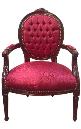 Fauteuil Louis XVI de style baroque tissu satiné rouge et bois acajou