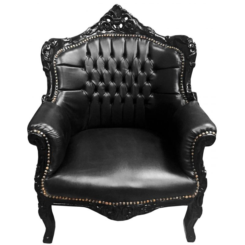 fauteuil princier de style baroque simili cuir noir et bois noir. Black Bedroom Furniture Sets. Home Design Ideas