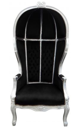 Grand porter's Baroque style chair black velvet and wood silver