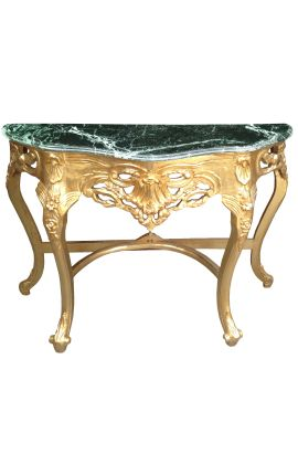 Baroque console with gilt wood and green marble