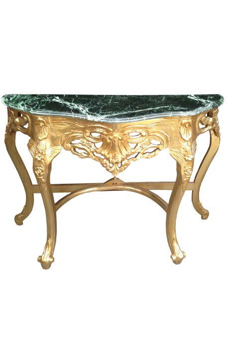 Console de style baroque en bois doré et marbre vert