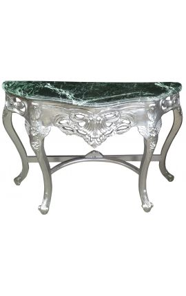 Baroque console with silvered wood and green marble