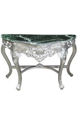 Console de style baroque en bois argenté et marbre vert