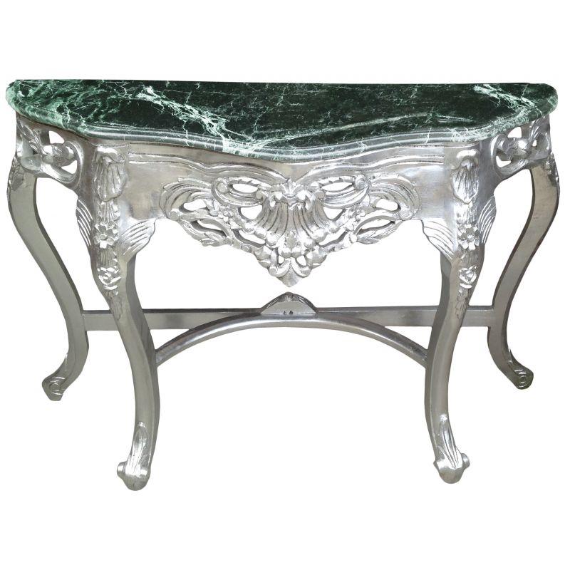 console de style baroque en bois argent et marbre vert. Black Bedroom Furniture Sets. Home Design Ideas