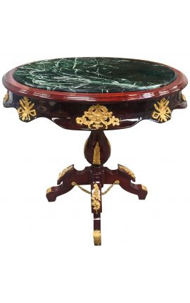 Empire style oval table in mahogany, bronze and green marble