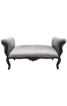 Baroque bench Louis XV style grey fabric and black matte wood 130