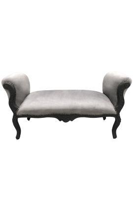 Longue banquette baroque de style Louis XV velours gris et bois noir mat 130