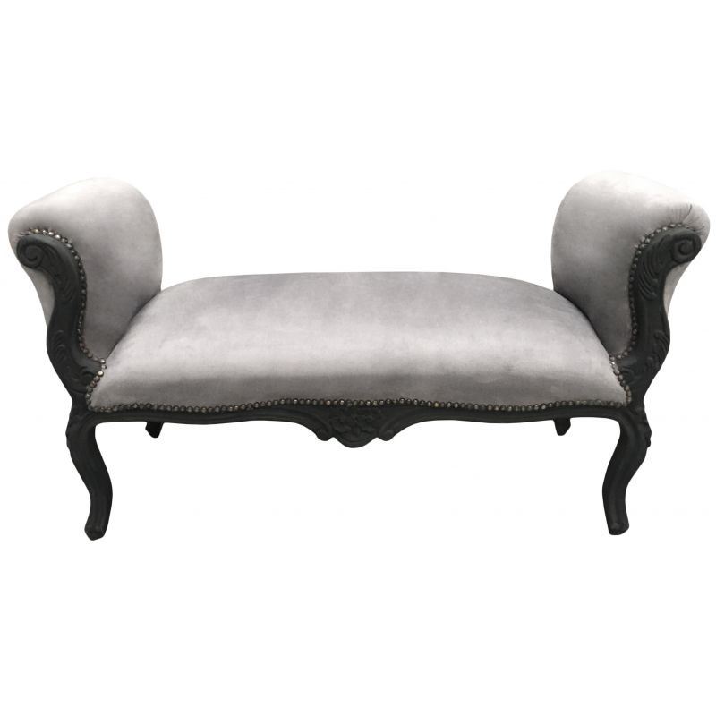 longue banquette baroque de style louis xv velours gris et bois noir mat 130. Black Bedroom Furniture Sets. Home Design Ideas