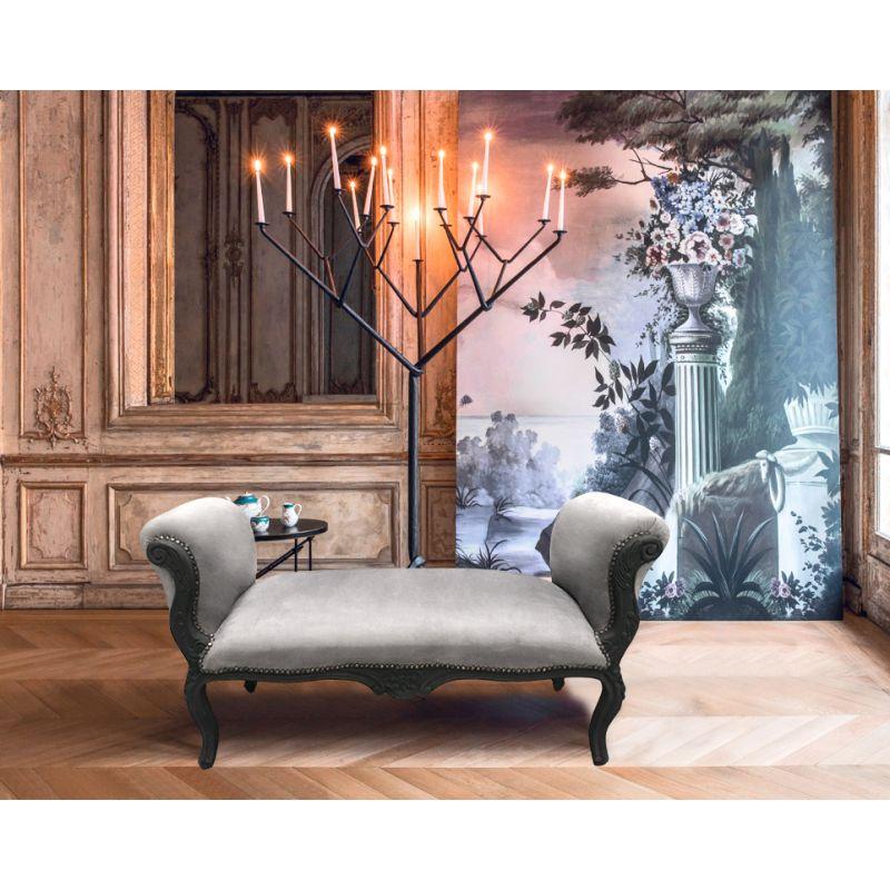 longue banquette baroque de style louis xv velours gris et bois noir mat 130. Black Bedroom Furniture Sets. Home Design Ideas