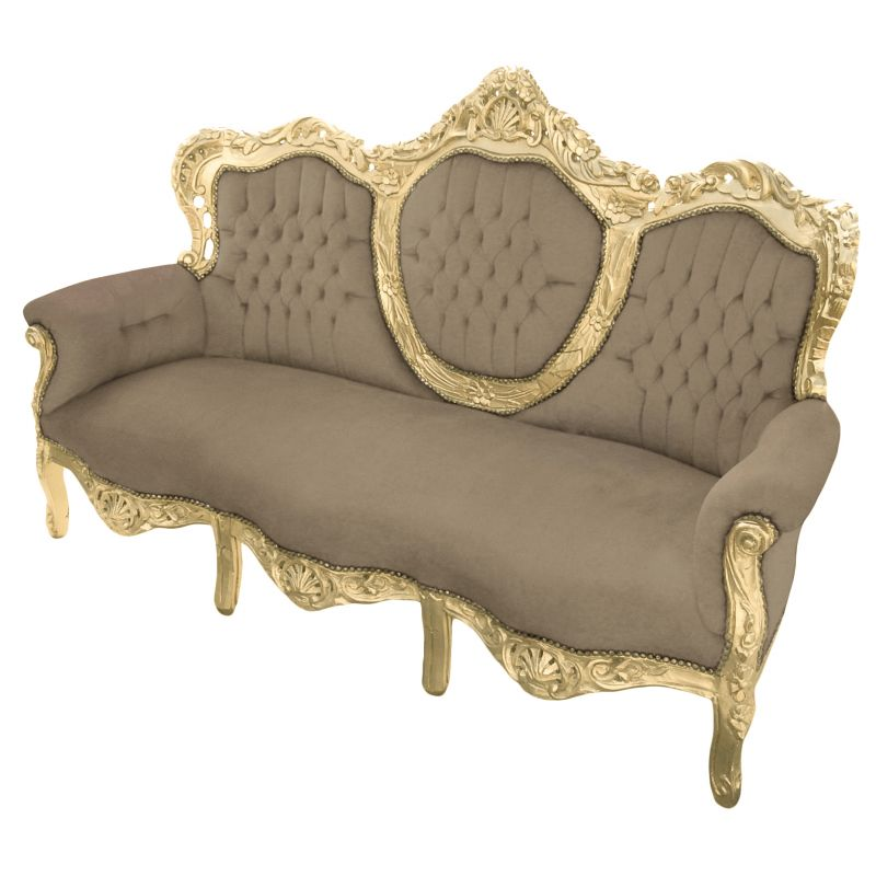 Taupe Velvet Sofa: Baroque Sofa Velvet Taupe Fabric And Gold Wood