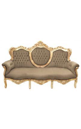 Барокко диван бархат темно-серый ткани и золото дерева