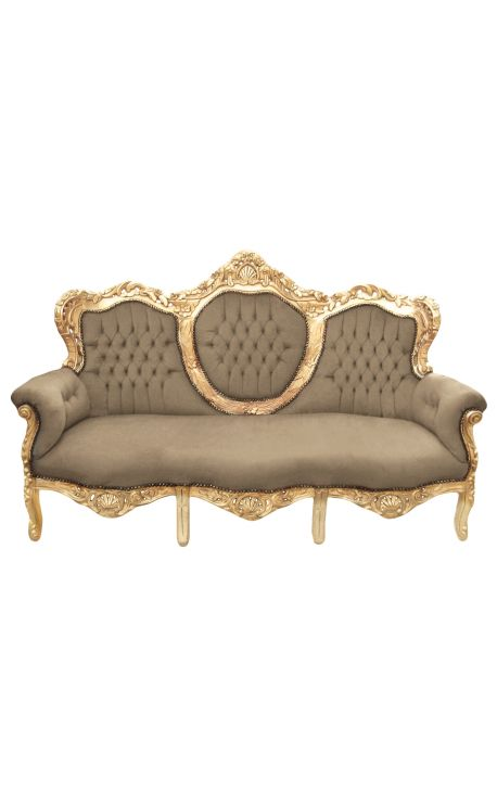 Baroque Sofa Velvet Taupe Fabric And Gold Wood