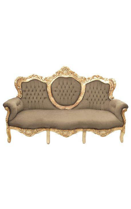 Canapé baroque tissu taupe et bois doré
