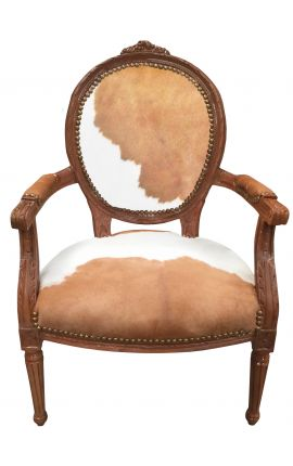 Baroque armchair of Louis XVI style real cow leather brown and white and raw wood