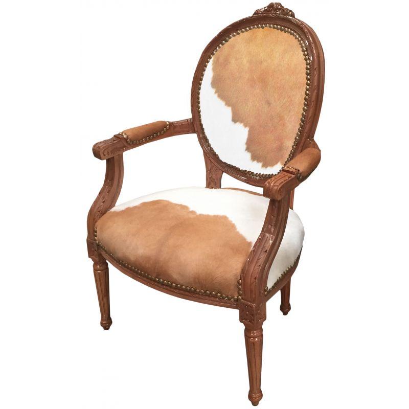 fauteuil baroque de style louis xvi vraie peau de vache. Black Bedroom Furniture Sets. Home Design Ideas