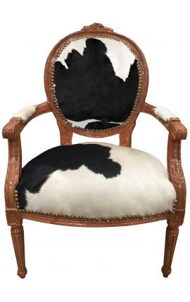 Baroque armchair of Louis XVI style real cow leather black and white and raw wood