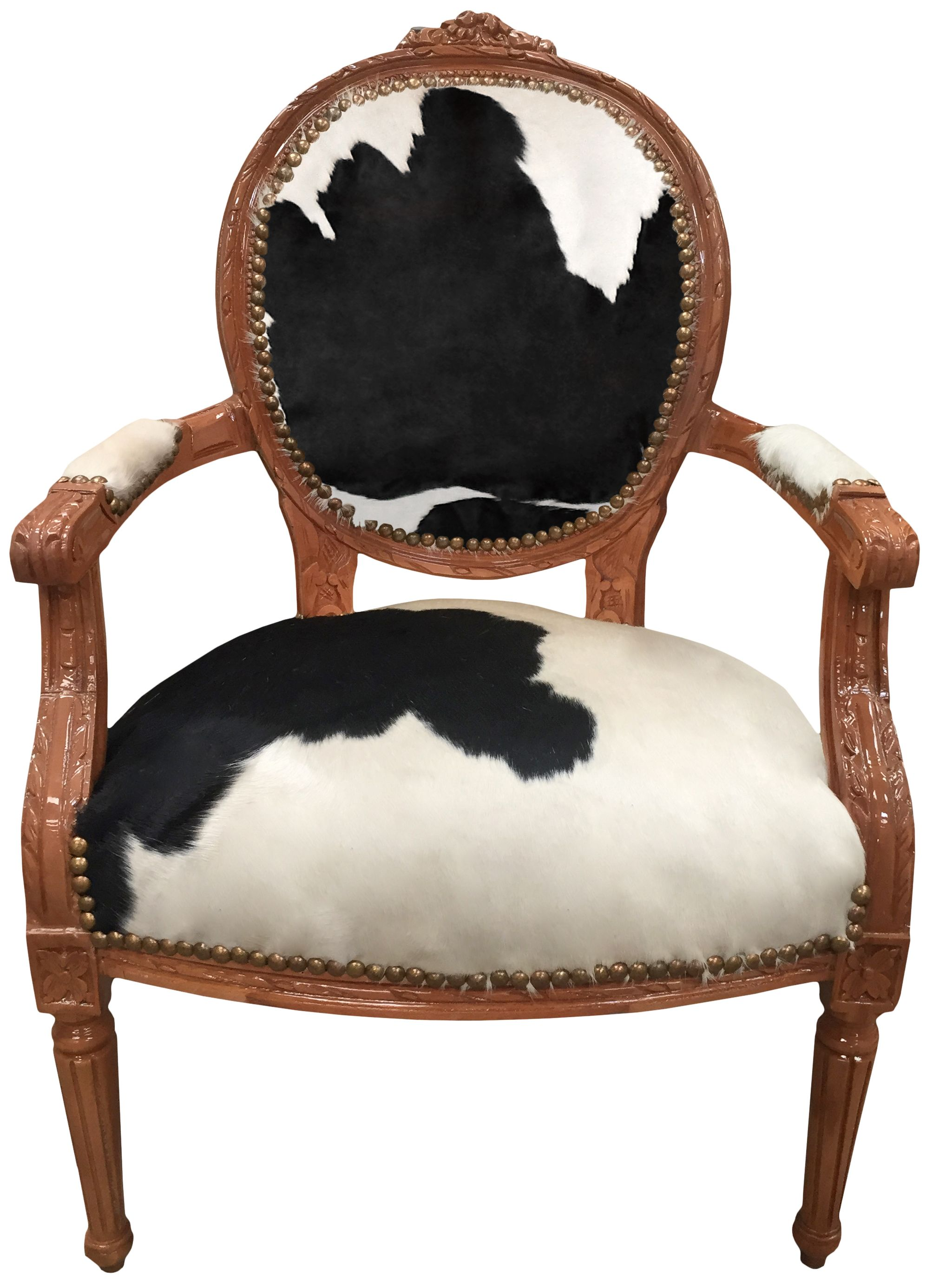 Baroque Armchair Of Louis Xvi Style Real Cowhide Black And