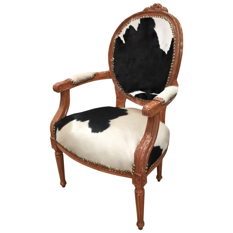 fauteuil baroque de style louis xvi vraie peau de vache noir et bois naturel. Black Bedroom Furniture Sets. Home Design Ideas